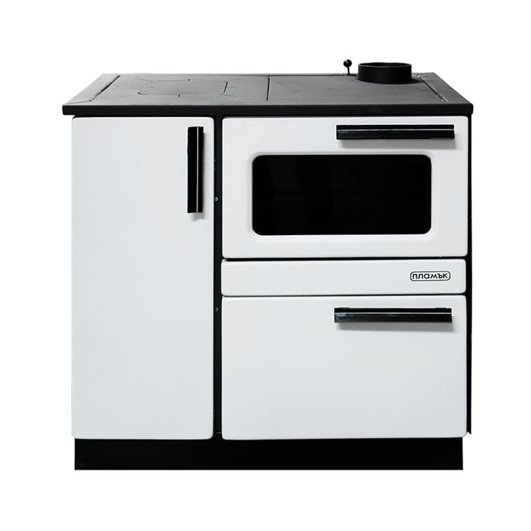 Печка готварска на твърдо гориво Пламък, бяла, 15 kW