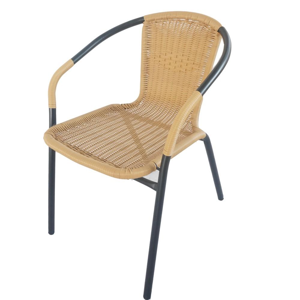 Стол метален PVC ратанов бежов TLH037