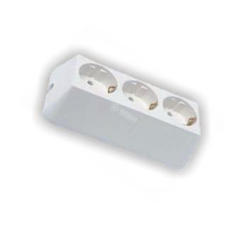 разклонител 3-ка без кабел бял