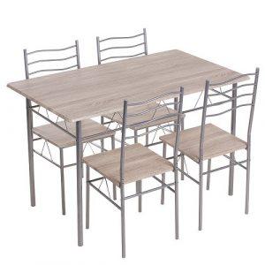 Комплект маса правоъгълна Кармен с 4 стола 20015-дъб сонома